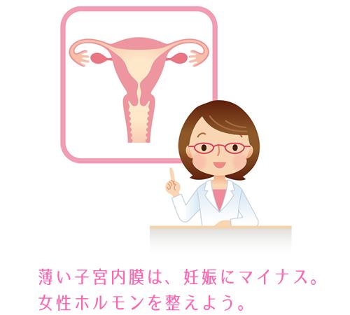 薄い子宮内膜は女性ホルモンを整えて改善